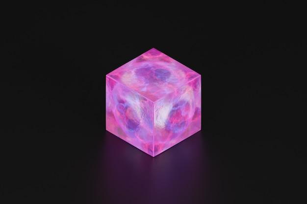 Cubo rosa abstrato em fundo preto, ilustração 3d render