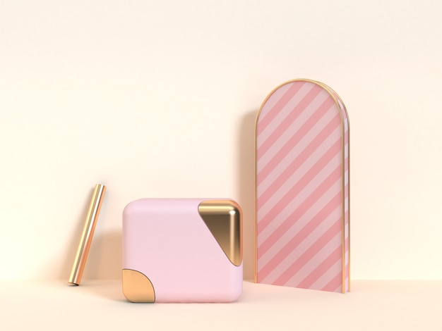 Cubo rosa ouro objetos abstratos creme fundo