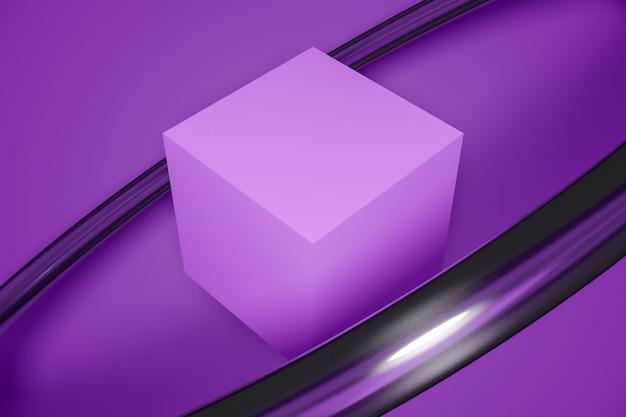 Cubo roxo em um fundo monocromático. abstrato com elementos, estúdio. formas geométricas.