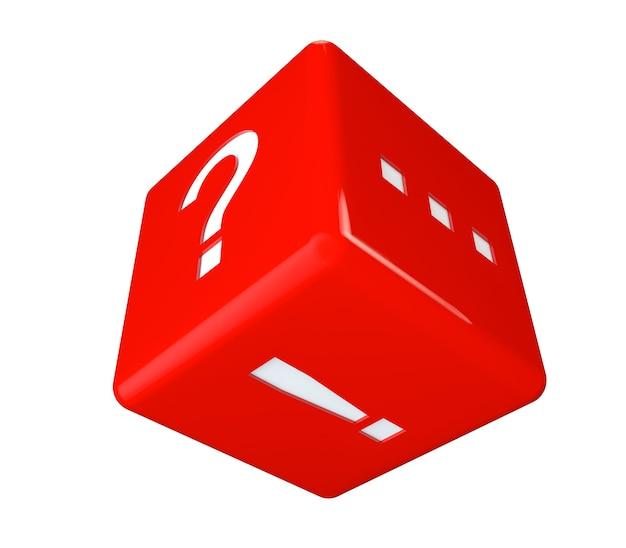 Cubo vermelho com perguntas, pontos de exclamação e pontos em um fundo branco