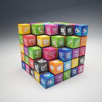 Cubos 3d com ícones da aplicação, cor diferente.