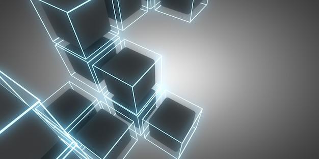 Cubos 3d de fundo abstrato com luzes de néon