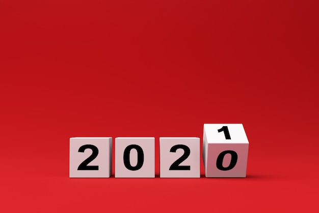 Cubos brancos com a inscrição 2020 são substituídos por 2021 em um fundo vermelho, renderização 3d