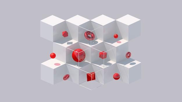 Cubos brancos e formas geométricas vermelhas. luz forte. ilustração abstrata, renderização 3d.