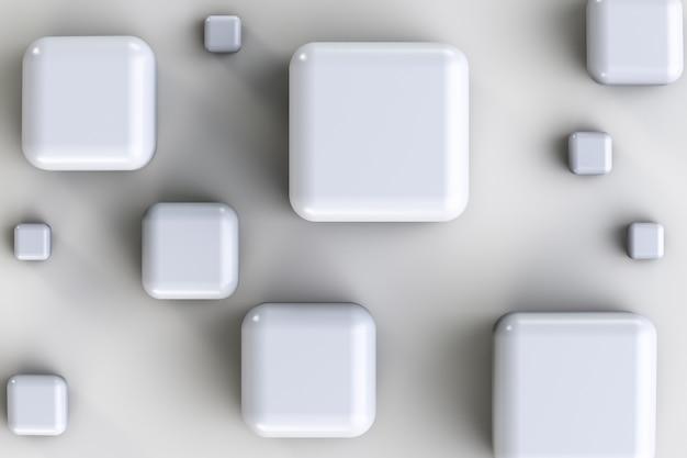 Cubos brancos polidos em vários tamanhos.