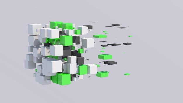 Cubos brancos, verdes e cinza voando e se transformando. ilustração abstrata, renderização 3d.