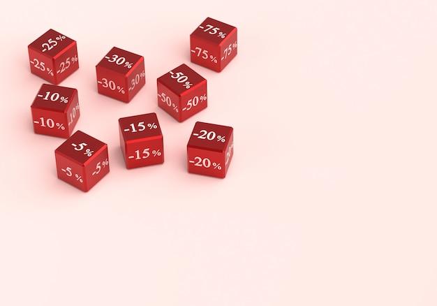 Cubos com diferentes descontos para venda. números com porcentagens com fundo em branco