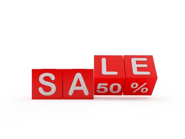 Cubos com o texto venda cinquenta por cento são rolados