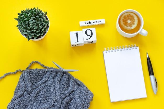 Cubos de madeira calendário 19 de fevereiro. xícara de chá com limão, bloco de notas aberto vazio para texto. pote com tecido suculento e cinza na agulha de tricô