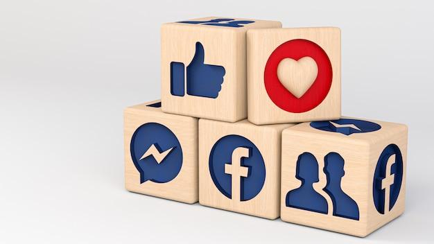 Cubos de madeira do facebook da ilustração 3d