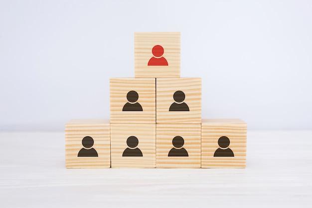 Cubos de madeira multinível na forma de uma hierarquia organizacional com ícones de funcionários. conceito de organização e hierarquia.
