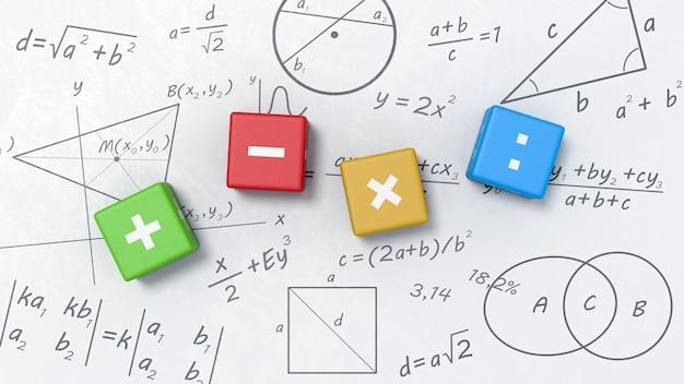 Cubos de operadores matemáticos no quadro branco com fórmulas, gráficos e símbolos