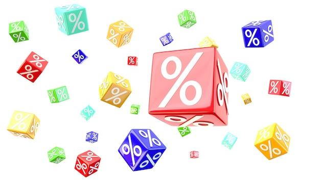Cubos de porcentagem em branco