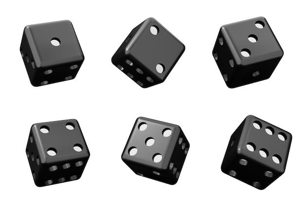 Cubos para o cassino. conjunto de dados pretos conjunto de ilustração 3d isolado no branco.