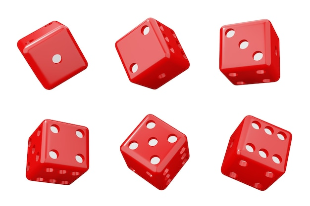 Cubos para o cassino. conjunto de dados vermelhos conjunto de ilustração 3d isolado no branco.