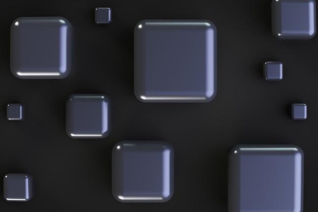 Cubos pretos polidos em vários tamanhos.