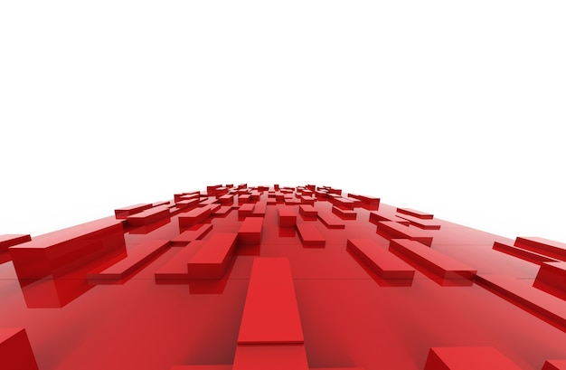 Cubos vermelhos abstraem padrão de fundo. ilustração 3d.