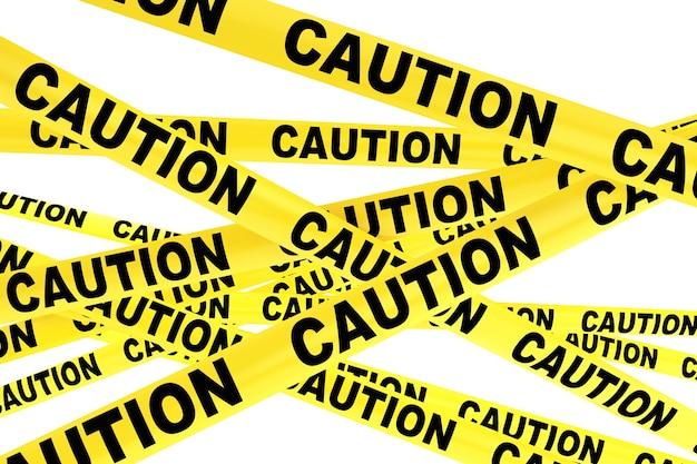 Cuidado com fitas de fita amarela em um fundo branco