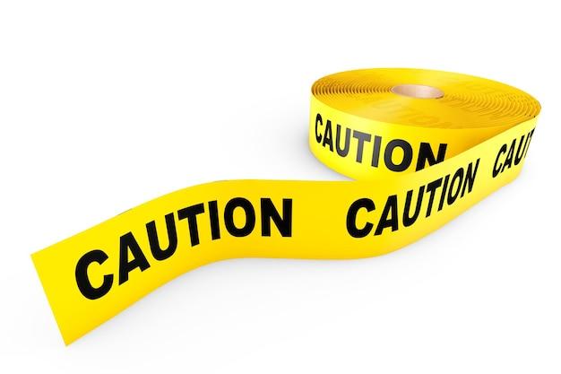 Cuidado fita amarela em um fundo branco