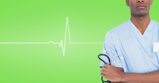 Cuidados chamando braços cruzados médicos elegante usando