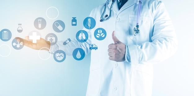 Cuidados de saúde digitais e conexão de rede na interface de tela virtual moderna do holograma, tecnologia médica e conceito de rede.