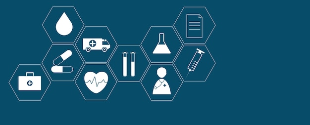 Cuidados de saúde e ciência ícone padrão de conceito de inovação médica plano de fundo