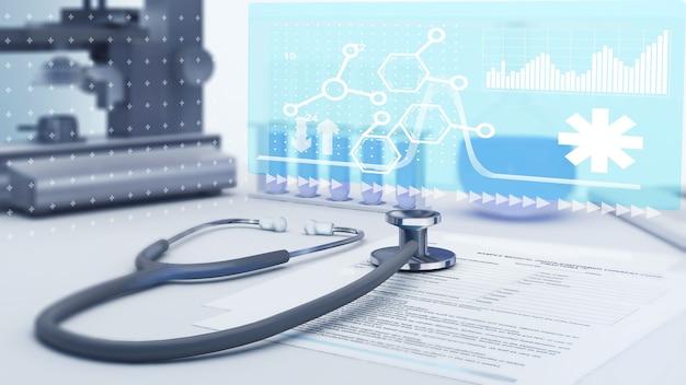 Cuidando de pacientes com dispositivos médicos usando tecnologia na educação do paciente, atendimento ao paciente, plano de saúde, renderização 3d