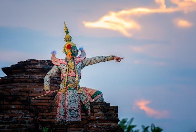Cultura arte, tailandia, dançar, em, mascarado, khon, em, literatura, ramayana
