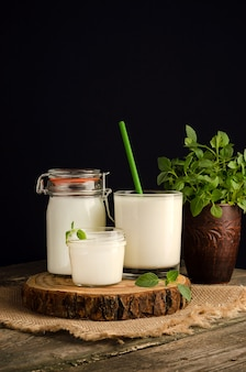 Cultura inicial de laticínios para a preparação de produtos lácteos fermentados, iogurte, kefir, leite cozido fermentado com um espaço de cópia em um copo em um corte de madeira