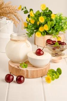 Cultura inicial de laticínios para a preparação de produtos lácteos fermentados, iogurte, kefir, leite cozido fermentado em uma tigela sobre um fundo branco de madeira