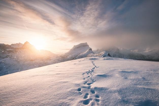 Cume da montanha de neve com pegada na nevasca