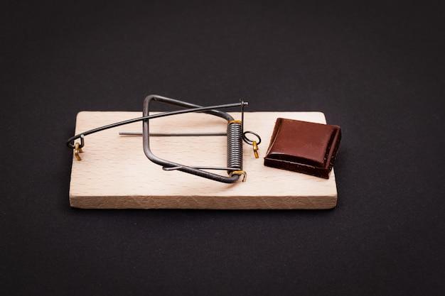 Cunha doce de chocolate ao leite viciado em chocolate na ratoeira de madeira