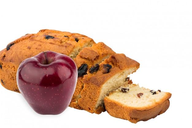 Cupcake assando caseira passas fruta maçã isolada