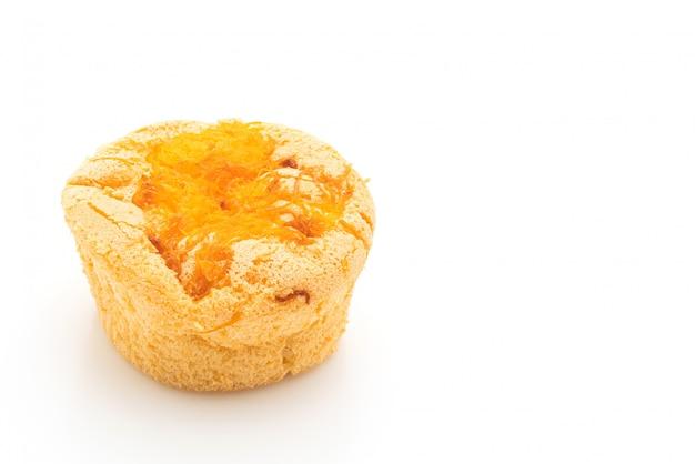 Cupcake de esponja com fio de gema de ovo de ouro