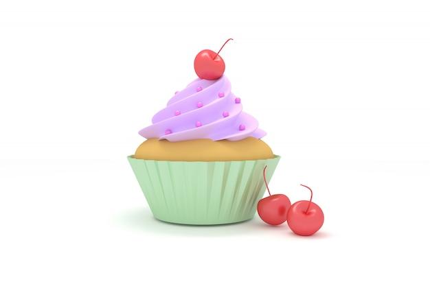 Cupcake de ilustração 3d