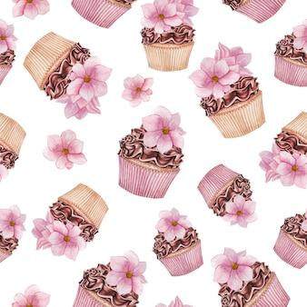Cupcakes aquarela com padrão de magnólia, padrão sem emenda de cupcakes de chocolate