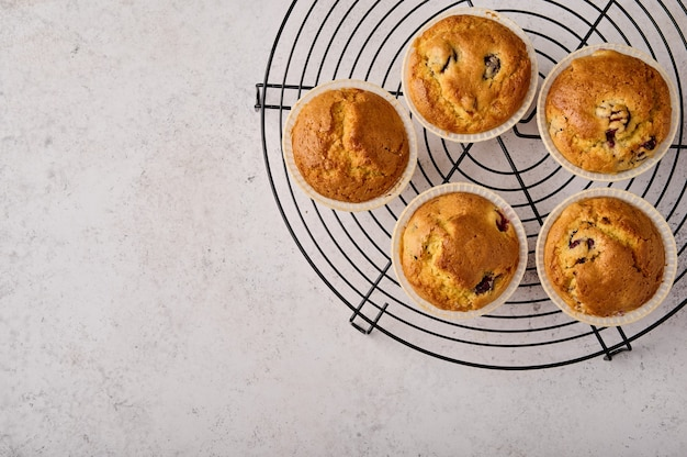 Cupcakes caseiros na grade ficam no espaço de cópia da vista superior de fundo cinza de madeira