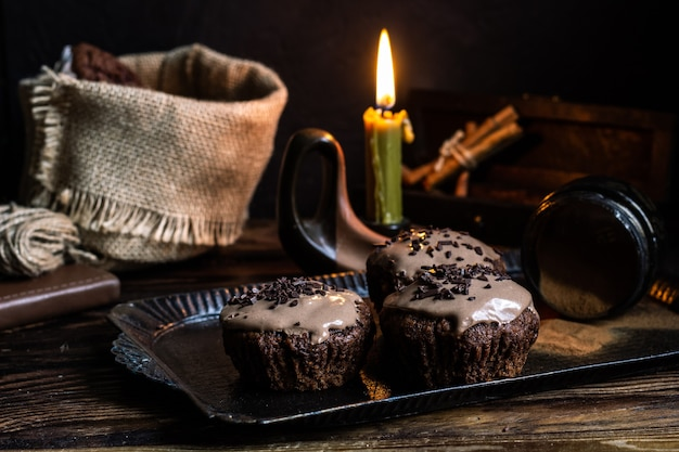 Cupcakes de chocolate picante