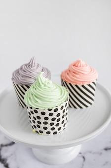 Cupcakes em exibição