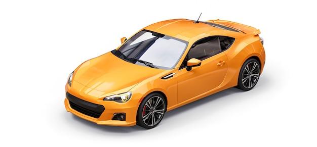 Cupê de carro esporte pequeno amarelo. renderização 3d.