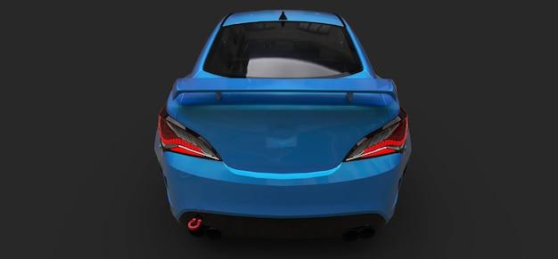 Cupê de carro esportivo pequeno azul em fundo cinza. renderização 3d.