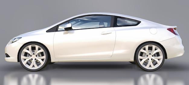 Cupê de carro esportivo pequeno branco. renderização em 3d.