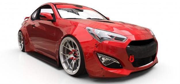 Cupê de carro esportivo pequeno vermelho. renderização em 3d.