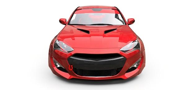 Cupê de carro esportivo pequeno vermelho sobre fundo branco. renderização 3d.