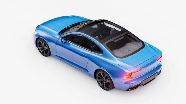 Cupê de esportes de carro conceito premium. carro azul sobre fundo branco. híbrido plug-in. tecnologias de transporte ecológico. renderização 3d.
