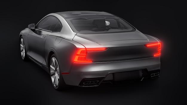 Cupê de esportes de carro conceito premium. carro cinza em fundo preto. híbrido plug-in. tecnologias de transporte ecológico. renderização 3d.