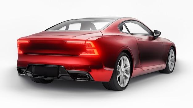 Cupê de esportes de carro conceito premium. híbrido plug-in. tecnologias de transporte ecológico. carro vermelho sobre fundo branco. renderização 3d.