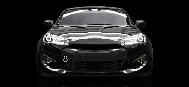 Cupê preto do carro de esportes em um fundo preto. renderização em 3d.