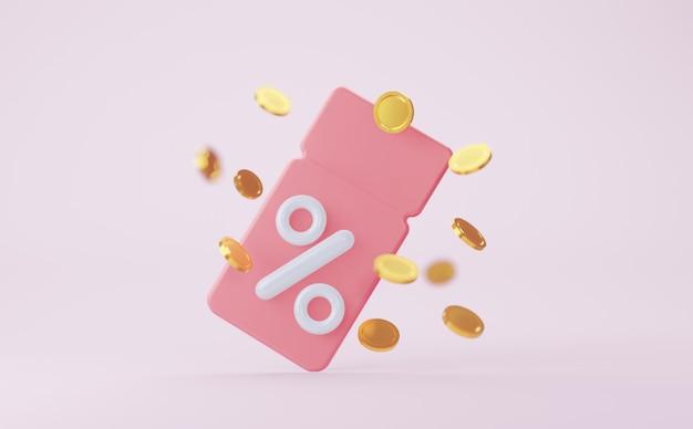 Cupom rosa com renderização 3d de moedas