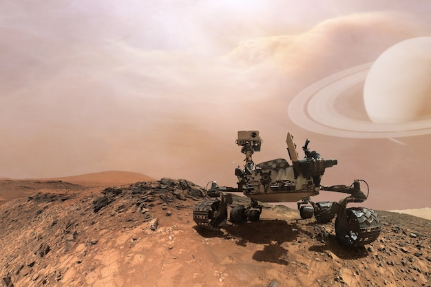 Curiosidade mars rover explorando a superfície do planeta vermelho.